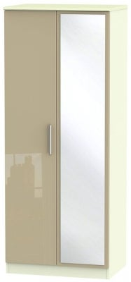Knightsbridge 2 Door Mirror Wardrobe - High Gloss Mushroom and Cream