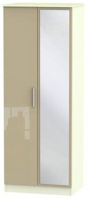Knightsbridge 2 Door Tall Mirror Wardrobe - High Gloss Mushroom and Cream