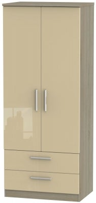 Knightsbridge 2 Door 2 Drawer Wardrobe - High Gloss Mushroom and Darkolino