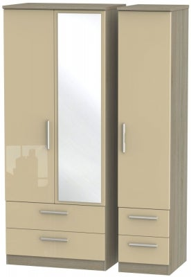 Knightsbridge 3 Door 4 Drawer Combi Wardrobe - High Gloss Mushroom and Darkolino
