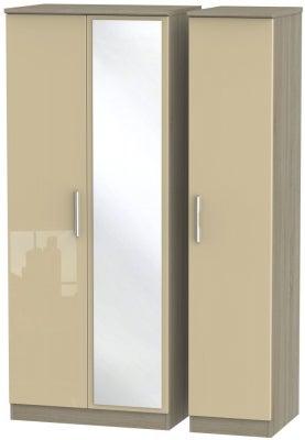 Knightsbridge 3 Door Mirror Wardrobe - High Gloss Mushroom and Darkolino