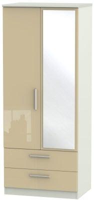 Knightsbridge 2 Door Combi Wardrobe - High Gloss Mushroom and Kaschmir Matt
