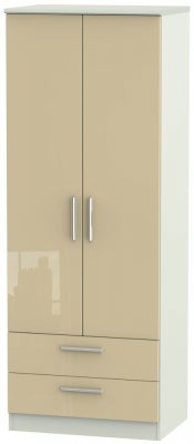 Knightsbridge 2 Door 2 Drawer Tall Wardrobe - High Gloss Mushroom and Kaschmir Matt