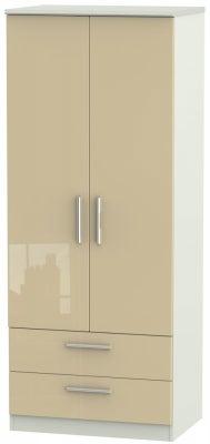 Knightsbridge 2 Door 2 Drawer Wardrobe - High Gloss Mushroom and Kaschmir Matt