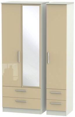 Knightsbridge 3 Door 4 Drawer Tall Combi Wardrobe - High Gloss Mushroom and Kaschmir Matt