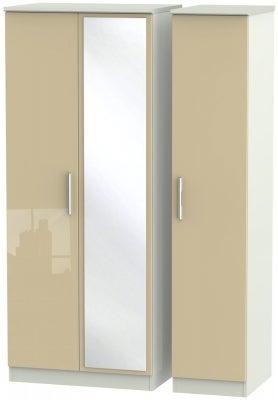 Knightsbridge 3 Door Mirror Wardrobe - High Gloss Mushroom and Kaschmir Matt