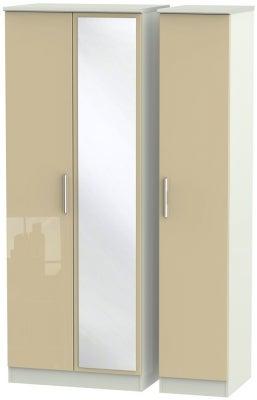 Knightsbridge 3 Door Tall Mirror Wardrobe - High Gloss Mushroom and Kaschmir Matt
