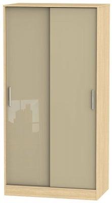 Knightsbridge 2 Door Sliding Wardrobe - High Gloss Mushroom and Light Oak