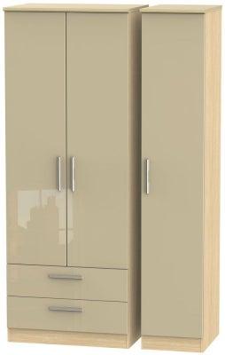 Knightsbridge 3 Door 2 Left Drawer Tall Wardrobe - High Gloss Mushroom and Light Oak