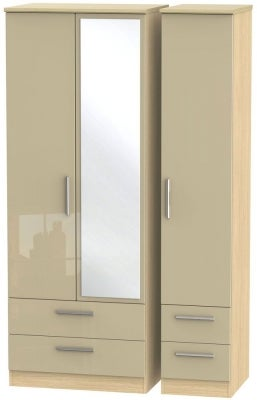 Knightsbridge 3 Door 4 Drawer Tall Combi Wardrobe - High Gloss Mushroom and Light Oak