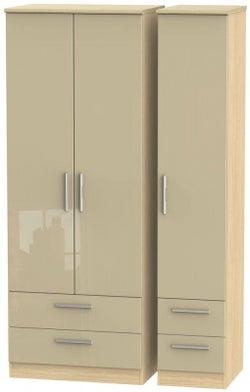Knightsbridge 3 Door 4 Drawer Tall Wardrobe - High Gloss Mushroom and Light Oak