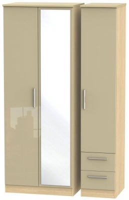 Knightsbridge 3 Door 2 Right Drawer Tall Combi Wardrobe - High Gloss Mushroom and Light Oak