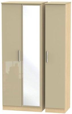 Knightsbridge 3 Door Tall Mirror Wardrobe - High Gloss Mushroom and Light Oak