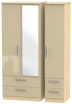 Knightsbridge 3 Door 4 Drawer Combi Wardrobe - High Gloss Mushroom and Light Oak