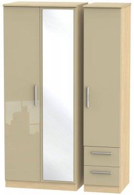 Knightsbridge 3 Door 2 Right Drawer Combi Wardrobe - High Gloss Mushroom and Light Oak