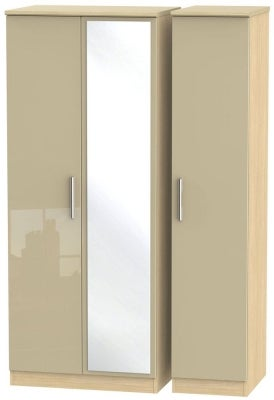 Knightsbridge 3 Door Mirror Wardrobe - High Gloss Mushroom and Light Oak