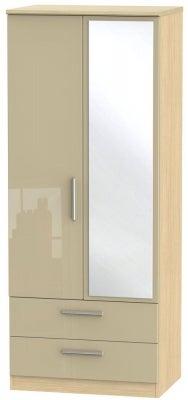 Knightsbridge 2 Door Combi Wardrobe - High Gloss Mushroom and Light Oak