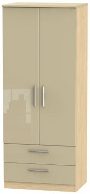Knightsbridge 2 Door 2 Drawer Wardrobe - High Gloss Mushroom and Light Oak