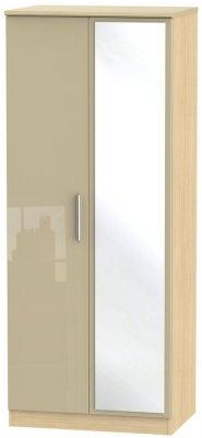 Knightsbridge 2 Door Mirror Wardrobe - High Gloss Mushroom and Light Oak