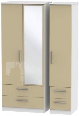 Knightsbridge 3 Door 4 Drawer Combi Wardrobe - High Gloss Mushroom and White