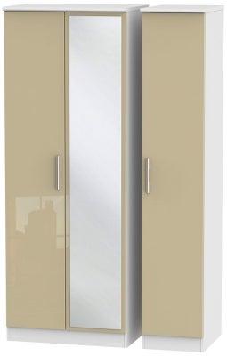 Knightsbridge 3 Door Tall Mirror Wardrobe - High Gloss Mushroom and White