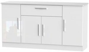 Knightsbridge High Gloss White 4 Door 1 Drawer Wide Sideboard