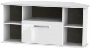 Knightsbridge High Gloss White 1 Drawer Corner TV Unit