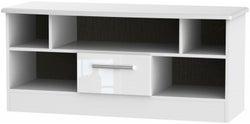 Knightsbridge High Gloss White 1 Drawer Open TV Unit