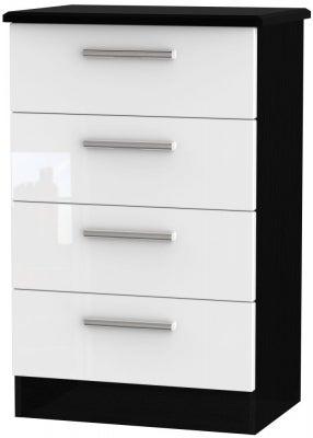 Knightsbridge 4 Drawer Midi Chest - High Gloss White and Black