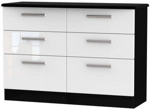 Knightsbridge 6 Drawer Midi Chest - High Gloss White and Black