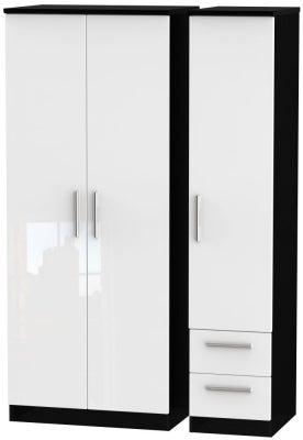 Knightsbridge 3 Door 2 Right Drawer Wardrobe - High Gloss White and Black