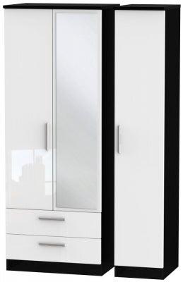 Knightsbridge 3 Door 2 Left Drawer Tall Combi Wardrobe - High Gloss White and Black
