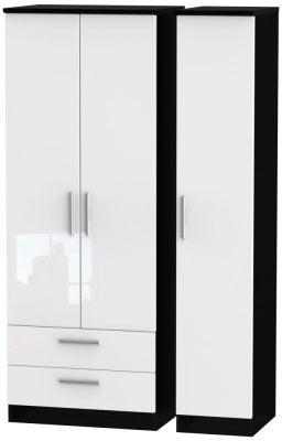 Knightsbridge 3 Door 2 Left Drawer Tall Wardrobe - High Gloss White and Black