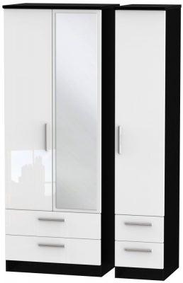 Knightsbridge 3 Door 4 Drawer Tall Combi Wardrobe - High Gloss White and Black