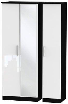Knightsbridge 3 Door Tall Mirror Wardrobe - High Gloss White and Black