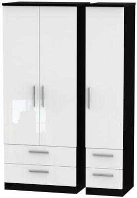 Knightsbridge 3 Door 4 Drawer Wardrobe - High Gloss White and Black