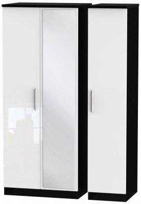 Knightsbridge 3 Door Mirror Wardrobe - High Gloss White and Black