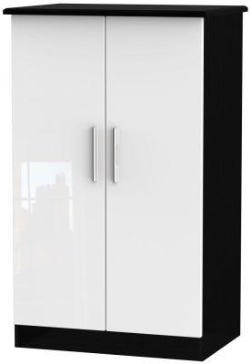 Knightsbridge 2 Door Midi Wardrobe - High Gloss White and Black