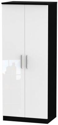 Knightsbridge 2 Door Wardrobe - High Gloss White and Black