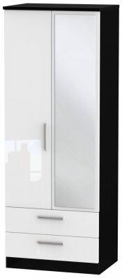 Knightsbridge 2 Door Tall Combi Wardrobe - High Gloss White and Black