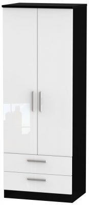 Knightsbridge 2 Door 2 Drawer Tall Wardrobe - High Gloss White and Black