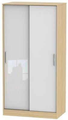 Knightsbridge 2 Door Sliding Wardrobe - High Gloss White and Light Oak