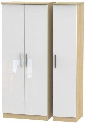 Knightsbridge 3 Door Wardrobe - High Gloss White and Light Oak