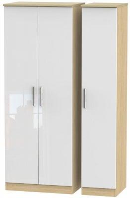 Knightsbridge 3 Door Tall Wardrobe - High Gloss White and Light Oak