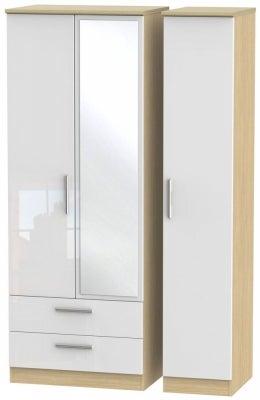Knightsbridge 3 Door 2 Left Drawer Tall Combi Wardrobe - High Gloss White and Light Oak