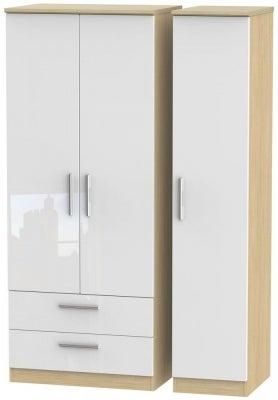 Knightsbridge 3 Door 2 Left Drawer Wardrobe - High Gloss White and Light Oak