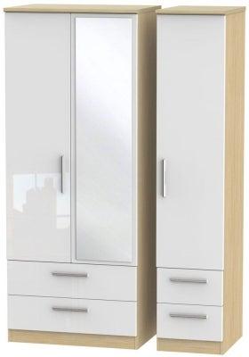 Knightsbridge 3 Door 4 Drawer Combi Wardrobe - High Gloss White and Light Oak
