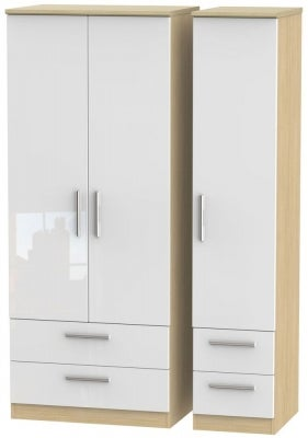Knightsbridge 3 Door 4 Drawer Wardrobe - High Gloss White and Light Oak