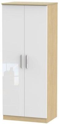 Knightsbridge 2 Door Wardrobe - High Gloss White and Light Oak
