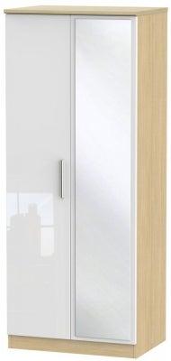 Knightsbridge 2 Door Mirror Wardrobe - High Gloss White and Light Oak